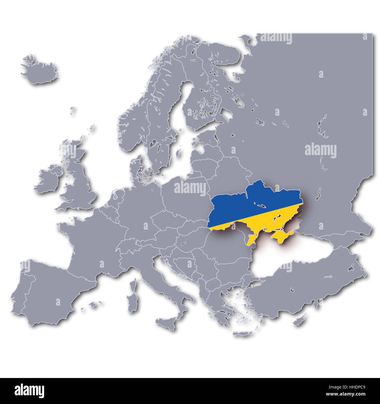 Ukraine On Map Of Europe.Map Of Europe Ukraine Stock Photo 131224697 Alamy