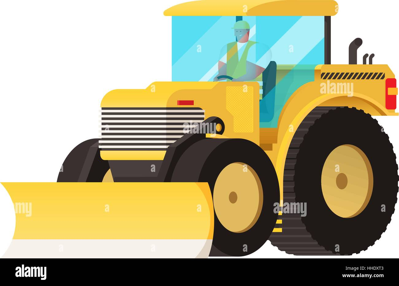Yellow tractor. Agricultural transport. Big wheels. Self-moving car. Farmer equipment. Vector car. Truck tractor. - Stock Vector