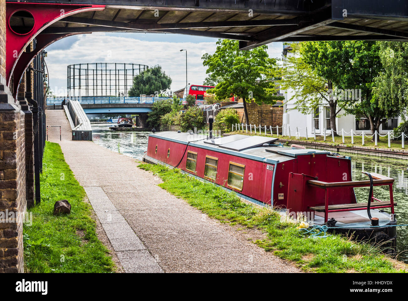 Canal at Ladbroke Grove in the Royal Borough of Kensington and Chelsea, London, UK - Stock Image