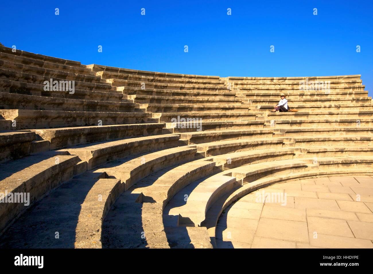 Roman Odeon, Kato Paphos Archaeological Park, UNESCO, Paphos, Cyprus, Eastern Mediterranean - Stock Image
