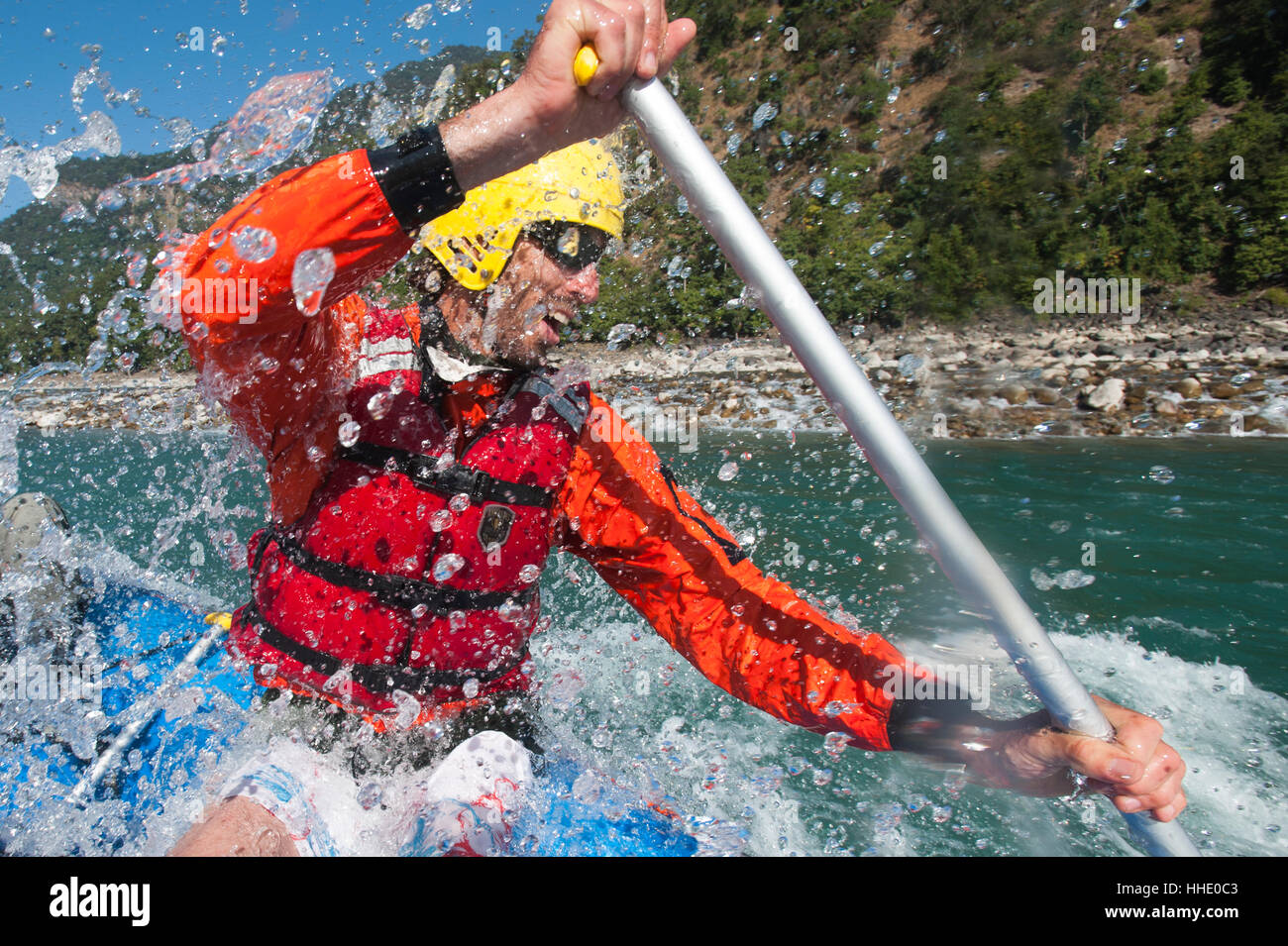 A rafting expedition on the Karnali River, west Nepal - Stock Image