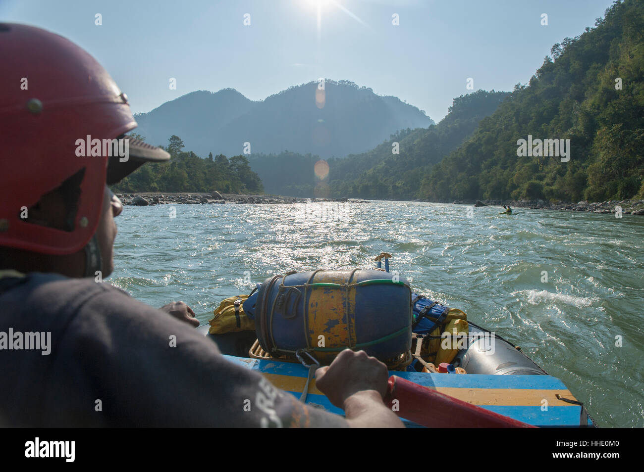 Rafting trip on the Trisuli River, Nepal Stock Photo