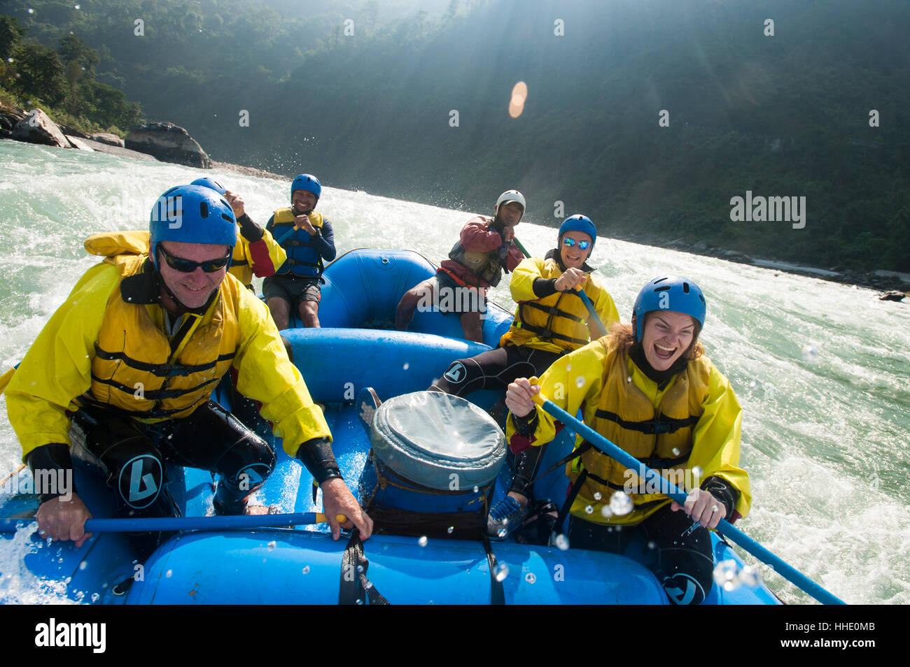Rafting trip on the Trisuli River, Nepal Stock Photo