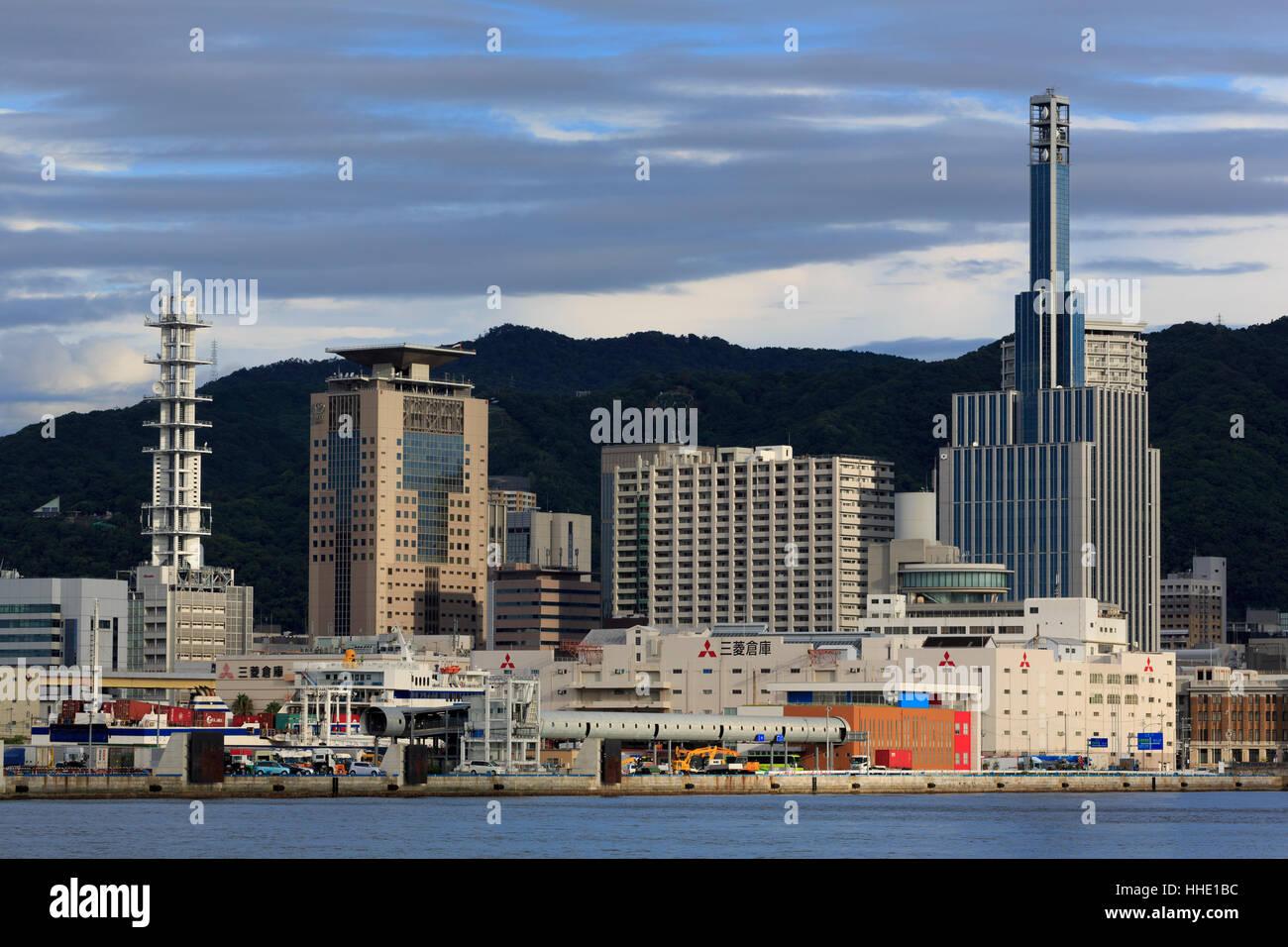 Skyline, Kobe City, Honshu Island, Japan - Stock Image