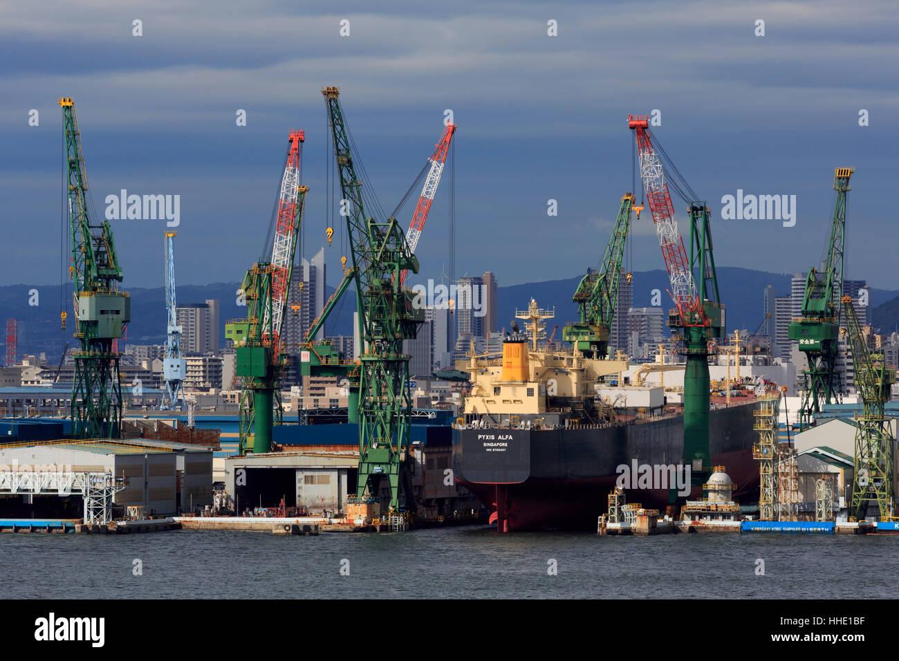 Kawasaki Kobe Shipyard, Honshu Island, Japan - Stock Image