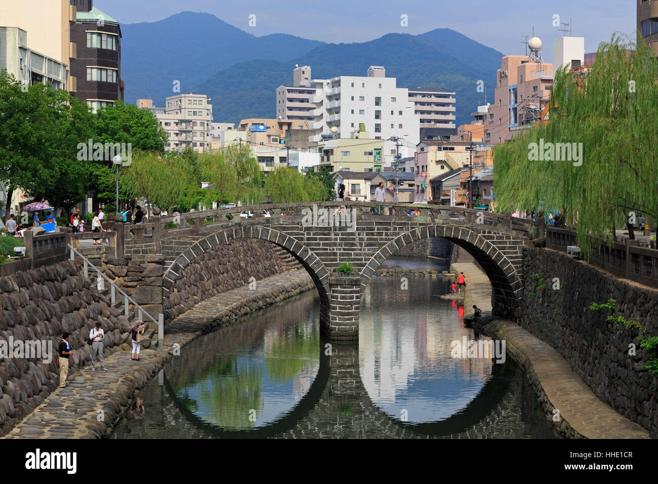 Spectacles Bridge, Nakashima River, Nagasaki, Kyushu Island, Japan - Stock Image