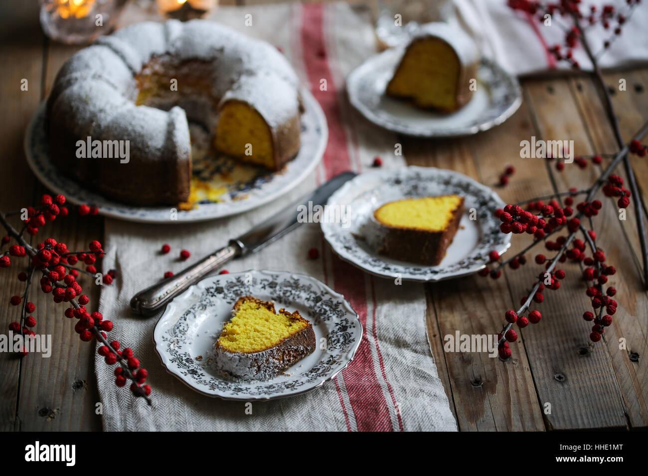 Turmeric bundt cake - Stock Image
