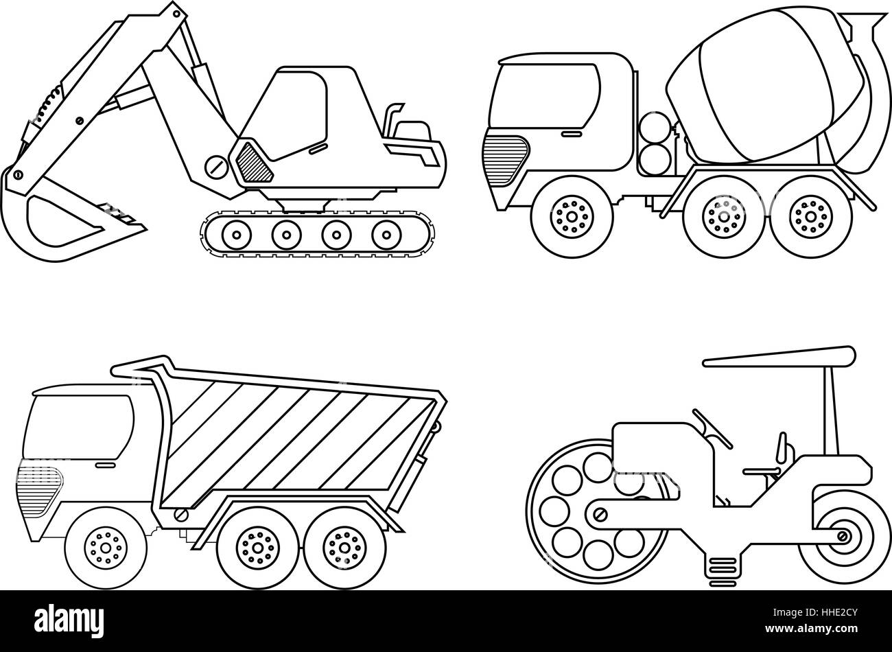 Coloring book for kids Vector illustration of crane car ...