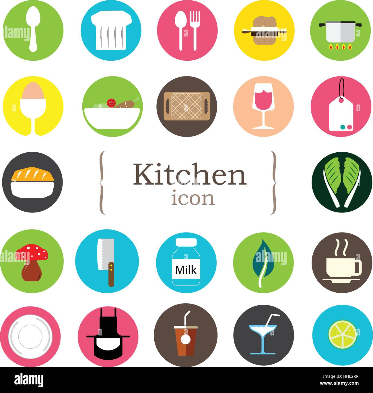 Kitchen Icons Set Food And Drink Flat Icons Vector Stock Vector Image Art Alamy