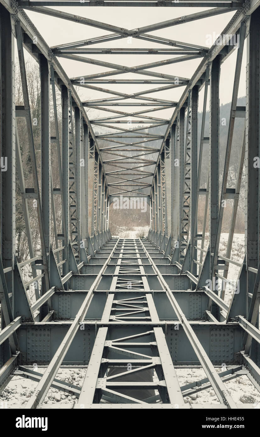 Abstract composition of an old bridge, details of construction elements. Stock Photo
