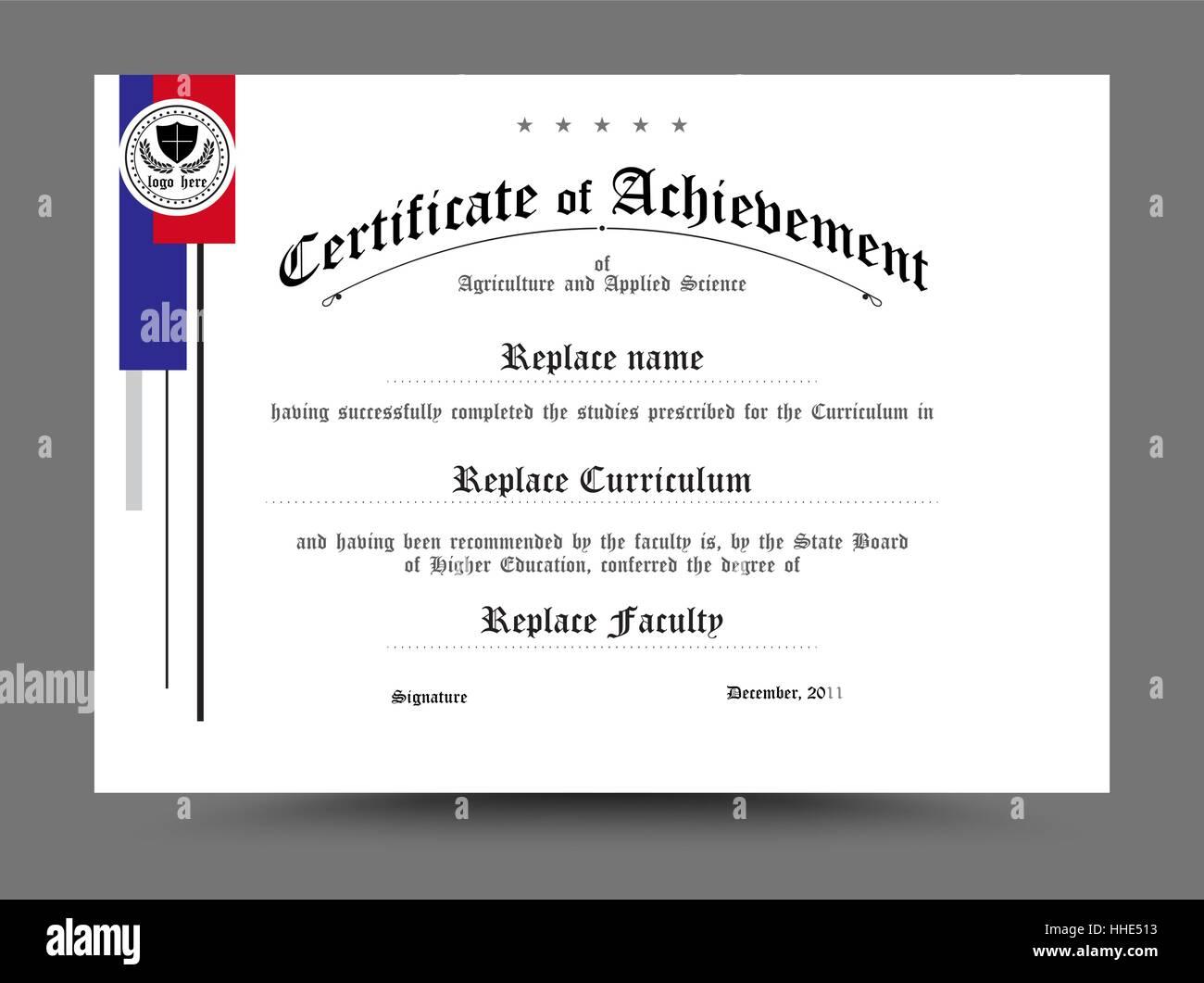 Diploma Certificate Template Design Vector Illustration Stock