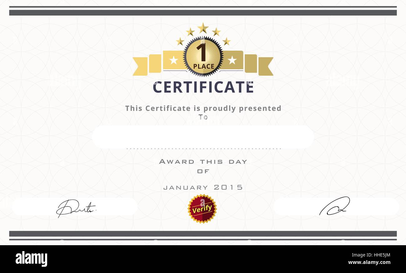 certificate template with first place concept certificate border