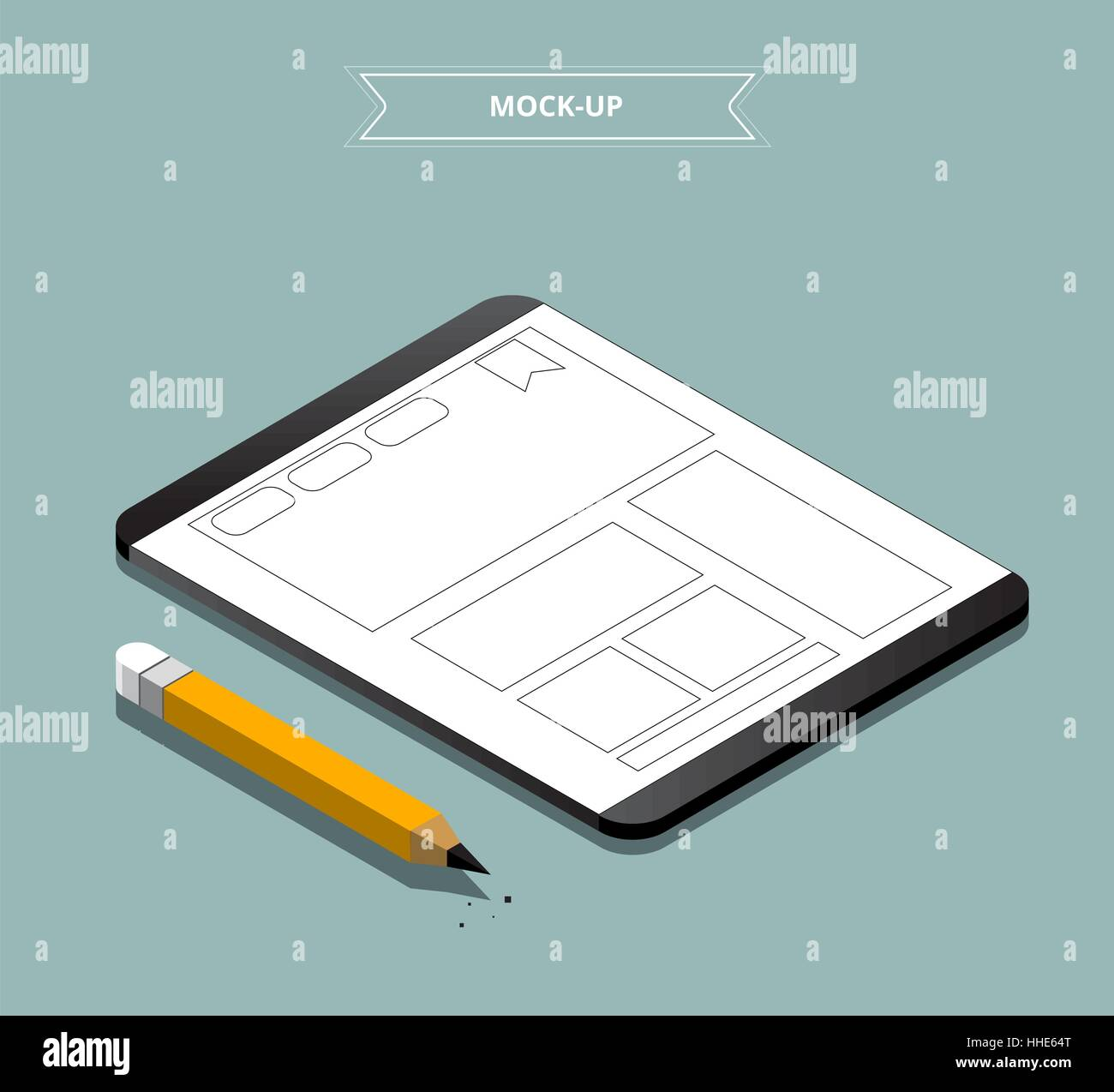 Website isometric wireframe mock-up concept, Prototype website ...