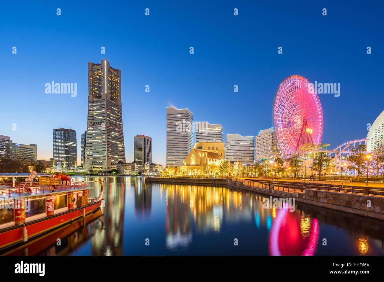 Night view of Yokohama skyline in Minato Mirai, Yokohama, Japan. - Stock Image