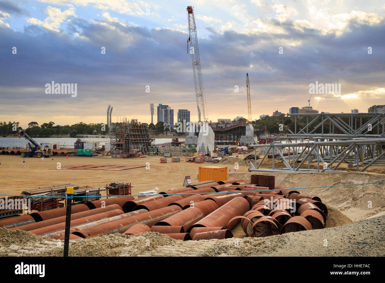 Construction work on Matagarup Bridge beside Optus Stadium in Burswood Stock Photo