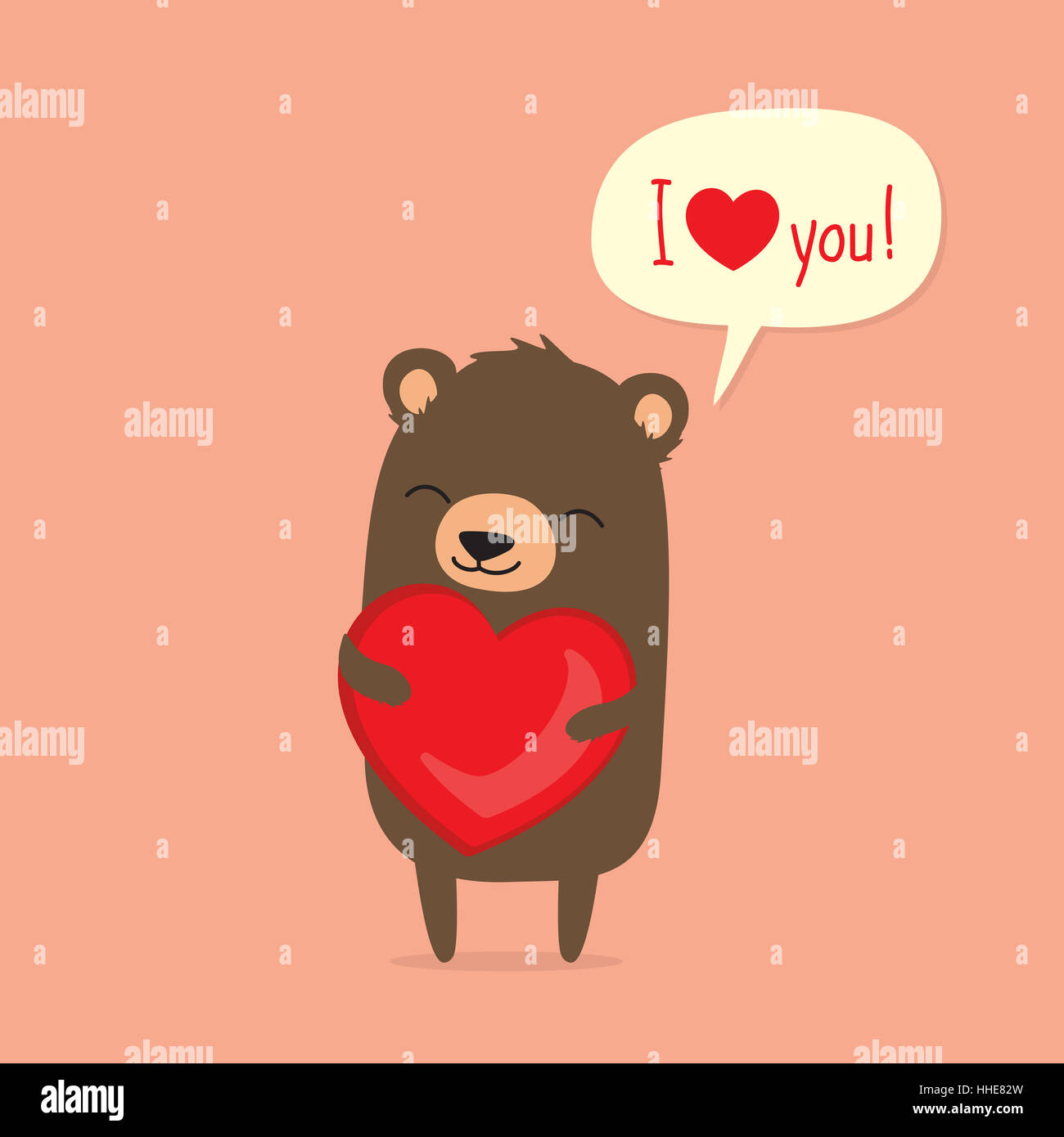 Valentine S Day Card With Cute Cartoon Bear Holding Heart And Saying