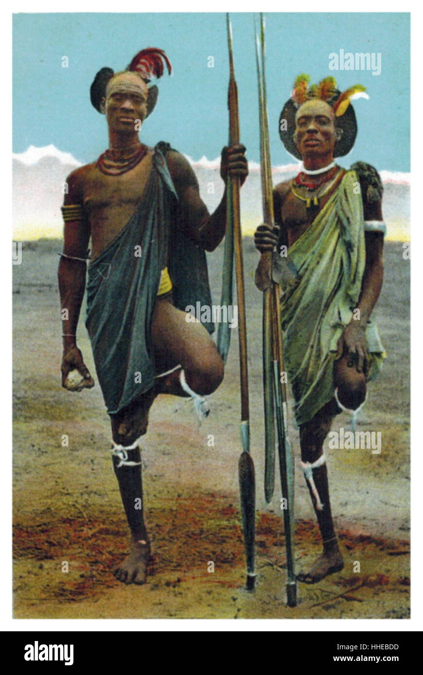 Warriors of the Shilluk; Luo Nilotic people of Southern Sudan, living on both banks of the river Nile circa 1910 - Stock Image