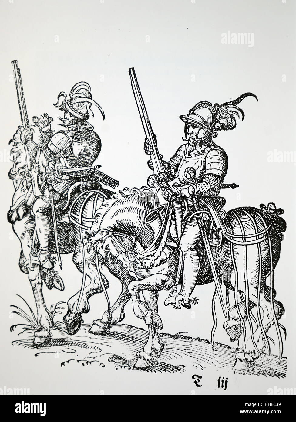 Cavalrymen with muskets, pistols and swords. Woodcut by Jost Amman published 1599 - Stock Image