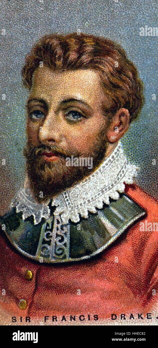 Francis Drake (c.1540-1596) English navigator and privateer. Chromolithographic card published c.1920. Colour - Stock Image