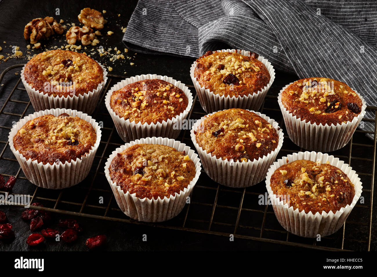 Cranberry walnut muffins - Stock Image