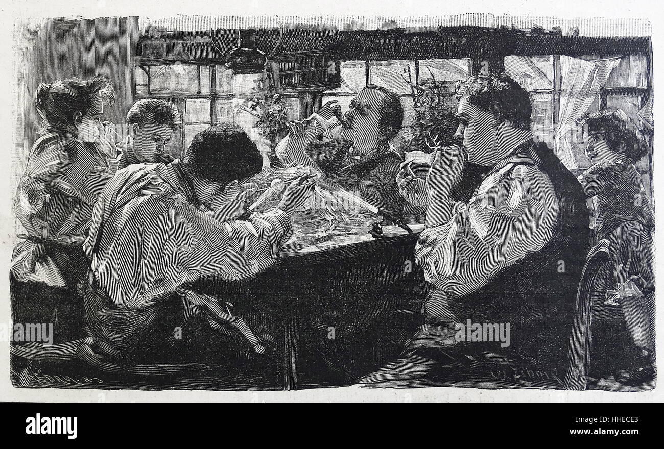 Blowing glass figures at a works in Germany 1895 - Stock Image