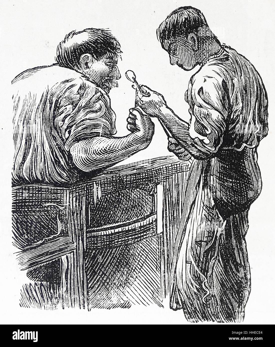 Venetian glass blowers. Venice, Italy 1884 Stock Photo