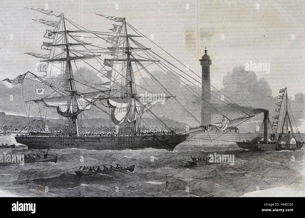 The Lizzie Webber. the first emigrant ship to leave Sunderland for Australia. 1852 - Stock Image