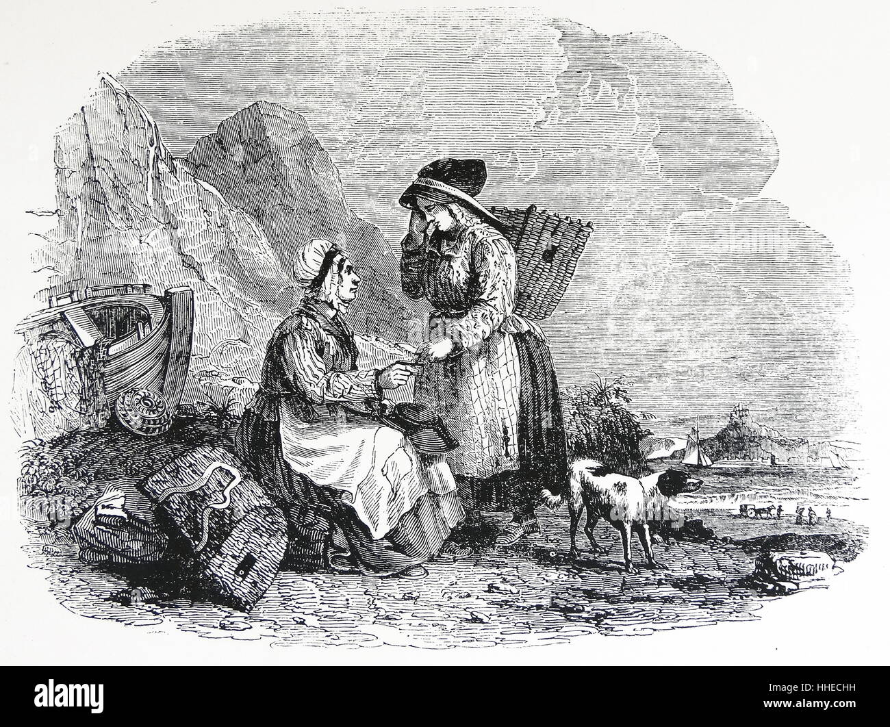 Cornish fisher women, willow baskets or cauwals 1836 - Stock Image