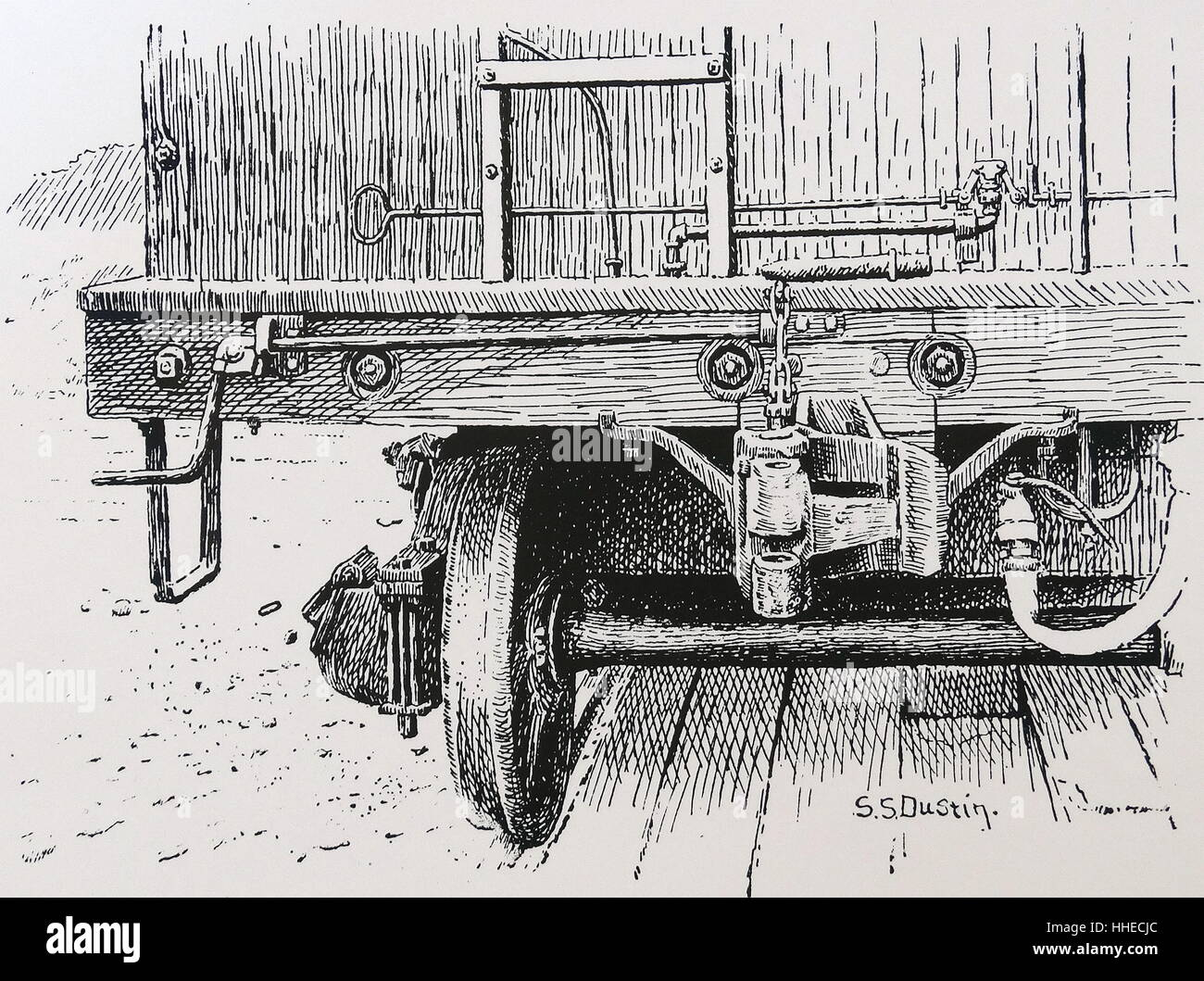 The Janney automatic coupler for railway cars. From The Railways of America. John Murray, London, 1890. - Stock Image