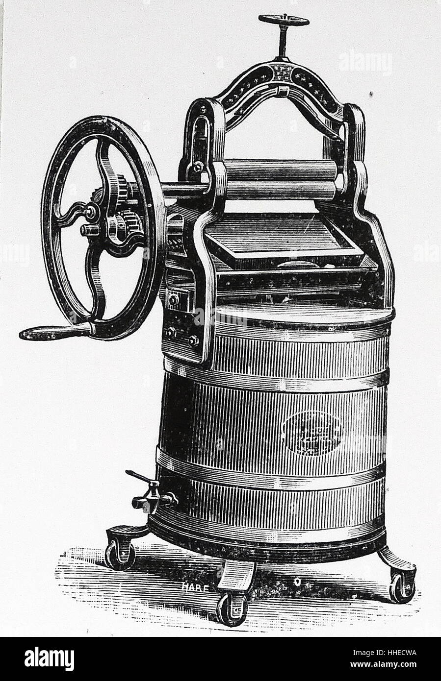 Villa washing machine by Messrs Twelve-trees. This had dashers inside to agitate the washing. 1895 - Stock Image