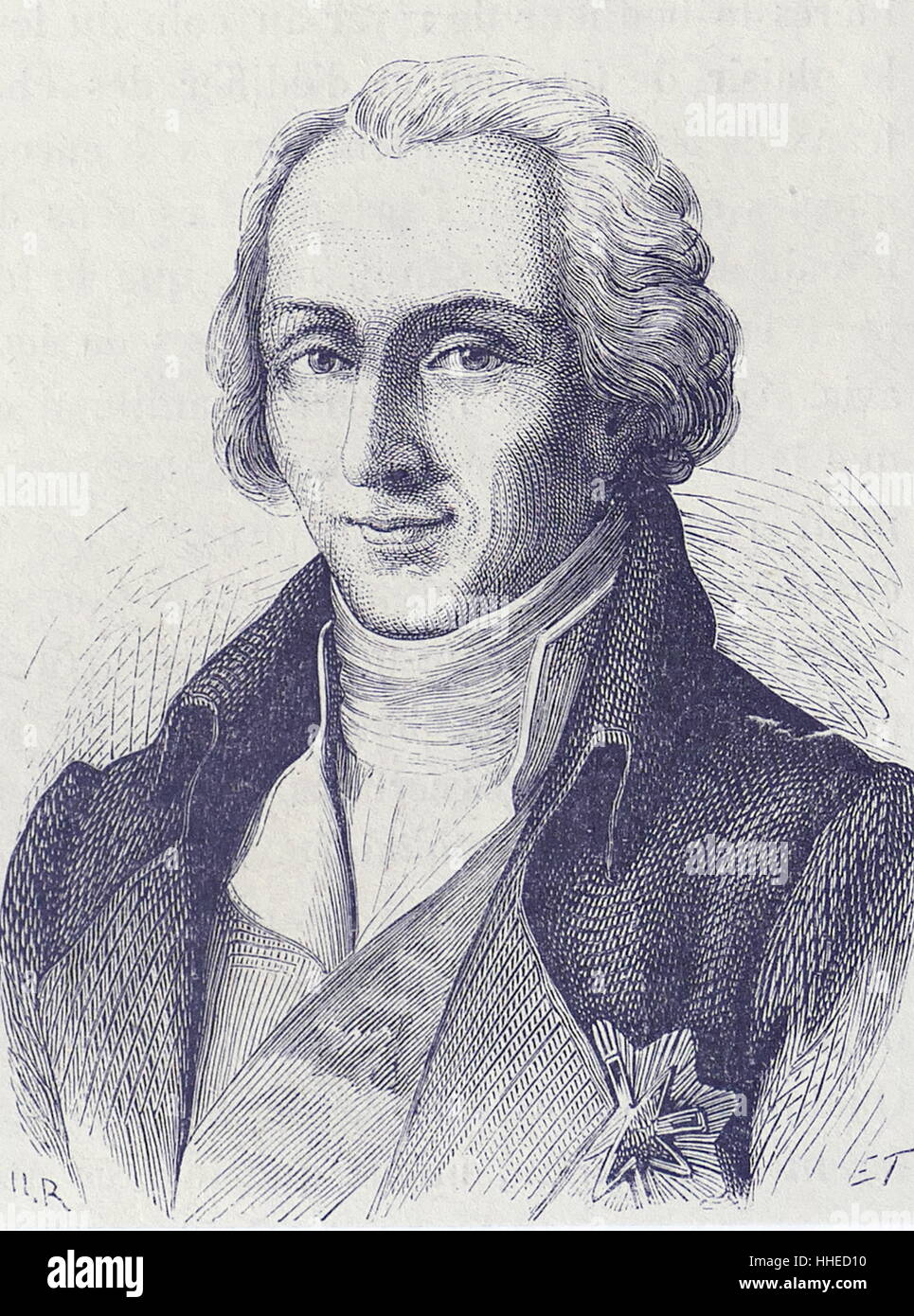 Benjamin Thompson Rumford (Count) 1753-1814. Anglo-American scientist and administrator. Friction theory of heat - Stock Image