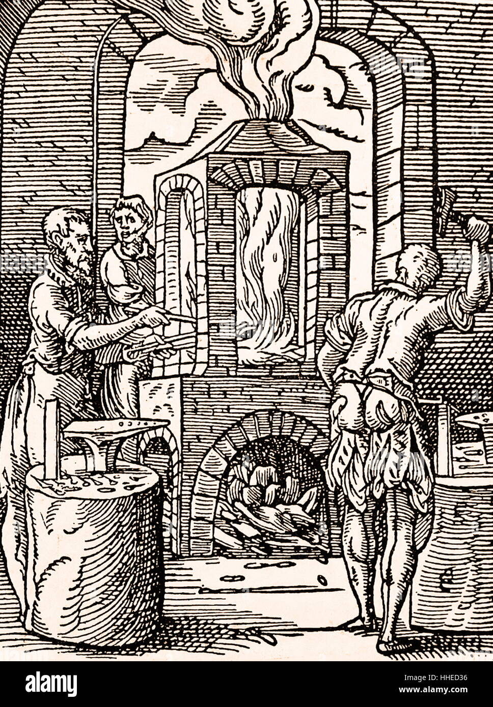 Nail makers workshop (Flemish) 16th century woodcut by Jost Amman - Stock Image