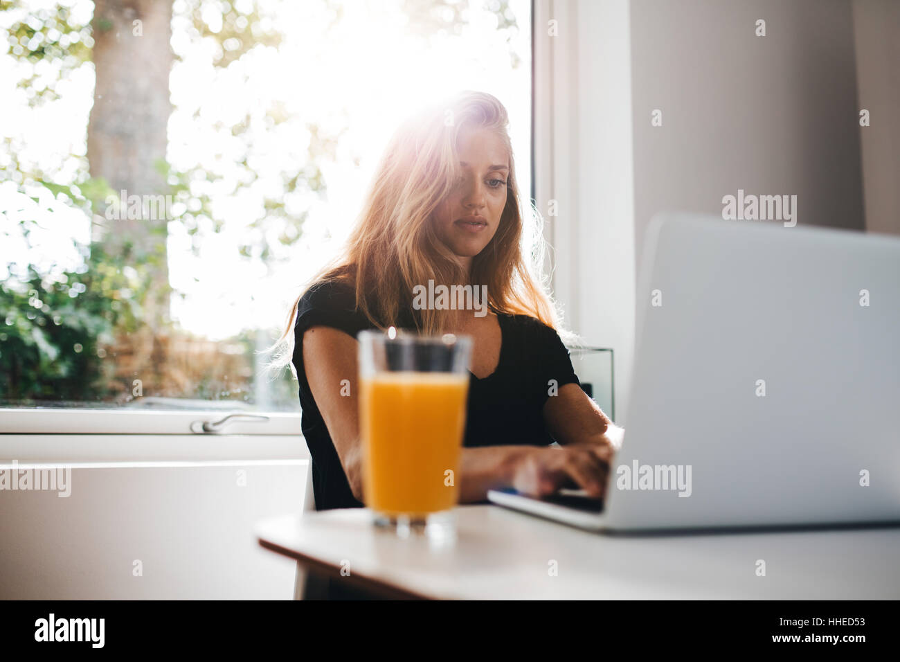 Indoor shot of female working on laptop. Woman in morning sitting in kitchen and using laptop computer. - Stock Image