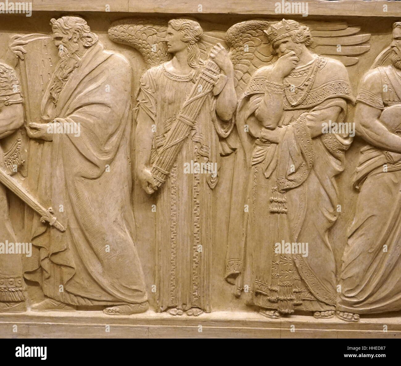 Relief depicting Hebrew prophet Moses. Moses is seen the figure of Austerity. King Solomon seen hand supporting - Stock Image