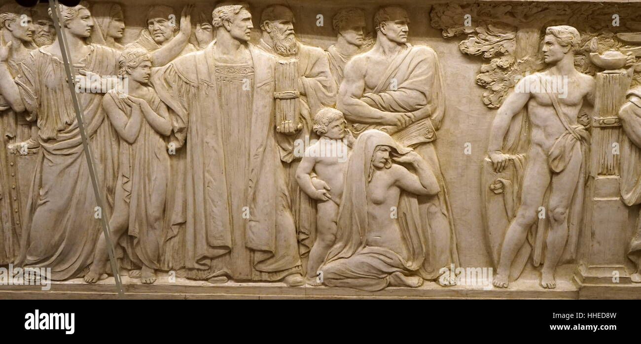 Relief depicting the Defence of Human Rights, the Protection of Innocence and the muse of Wisdom. . - Stock Image