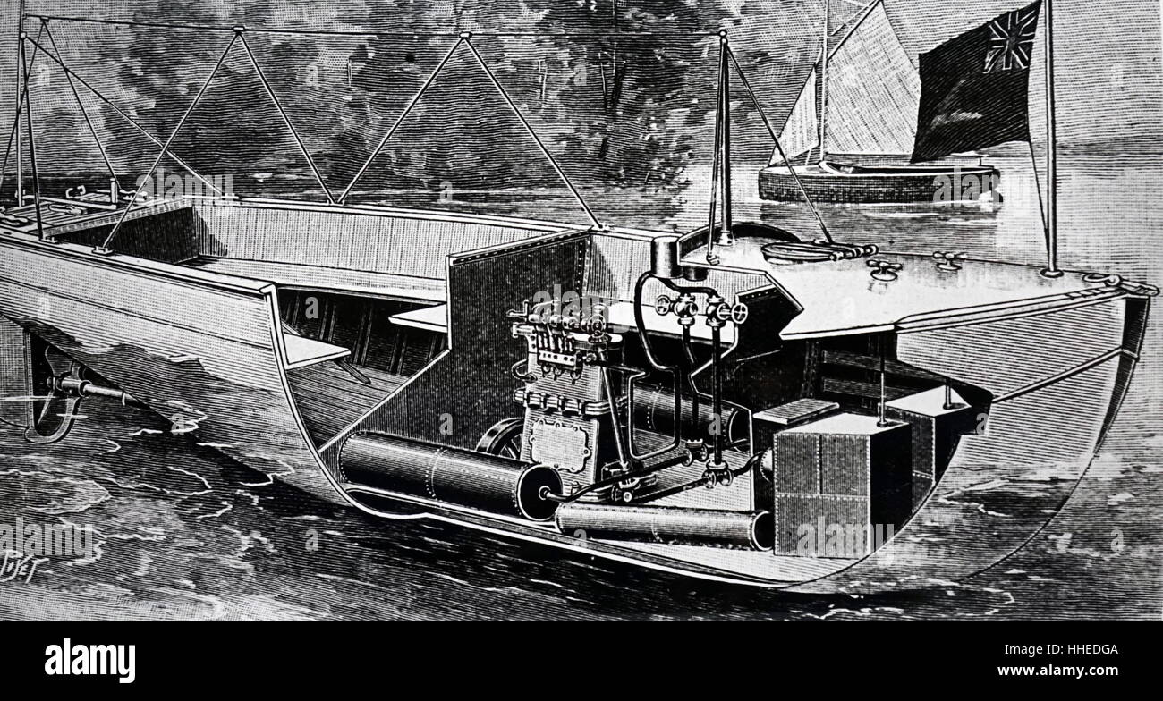Illustration of an early petrol driven boat. Dated 20th Century - Stock Image