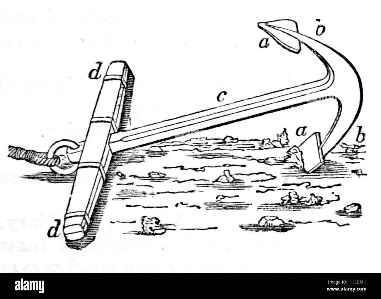 Engraving of an anchor - Stock Image