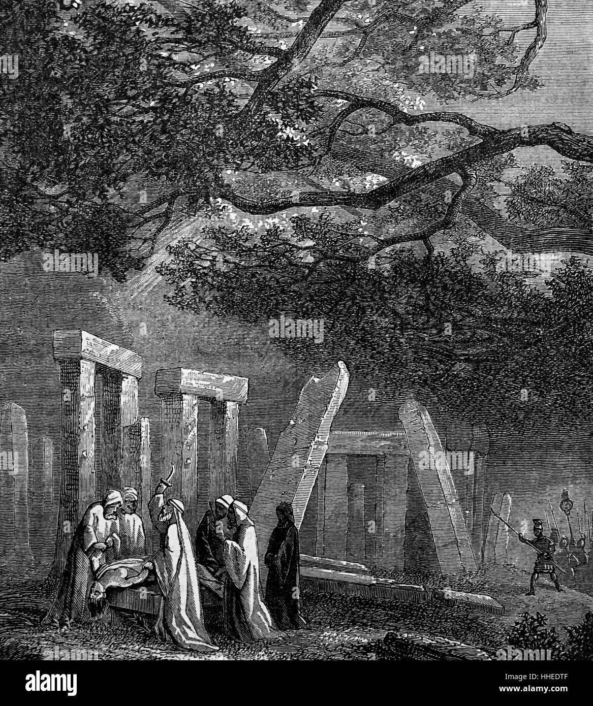 Engraving titled 'The Druid's Last Sacrifice' - Stock Image
