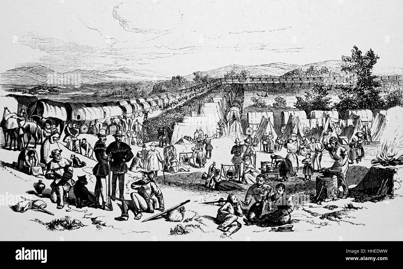 Illustration depicting the Mormon exodus from Illinois to Salt Lake City, Utah. Dated 19th Century - Stock Image