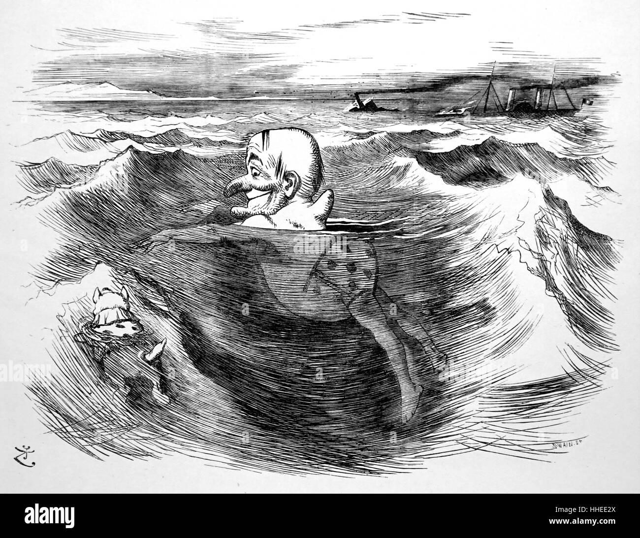 Cartoon of Matthew Webb - Stock Image