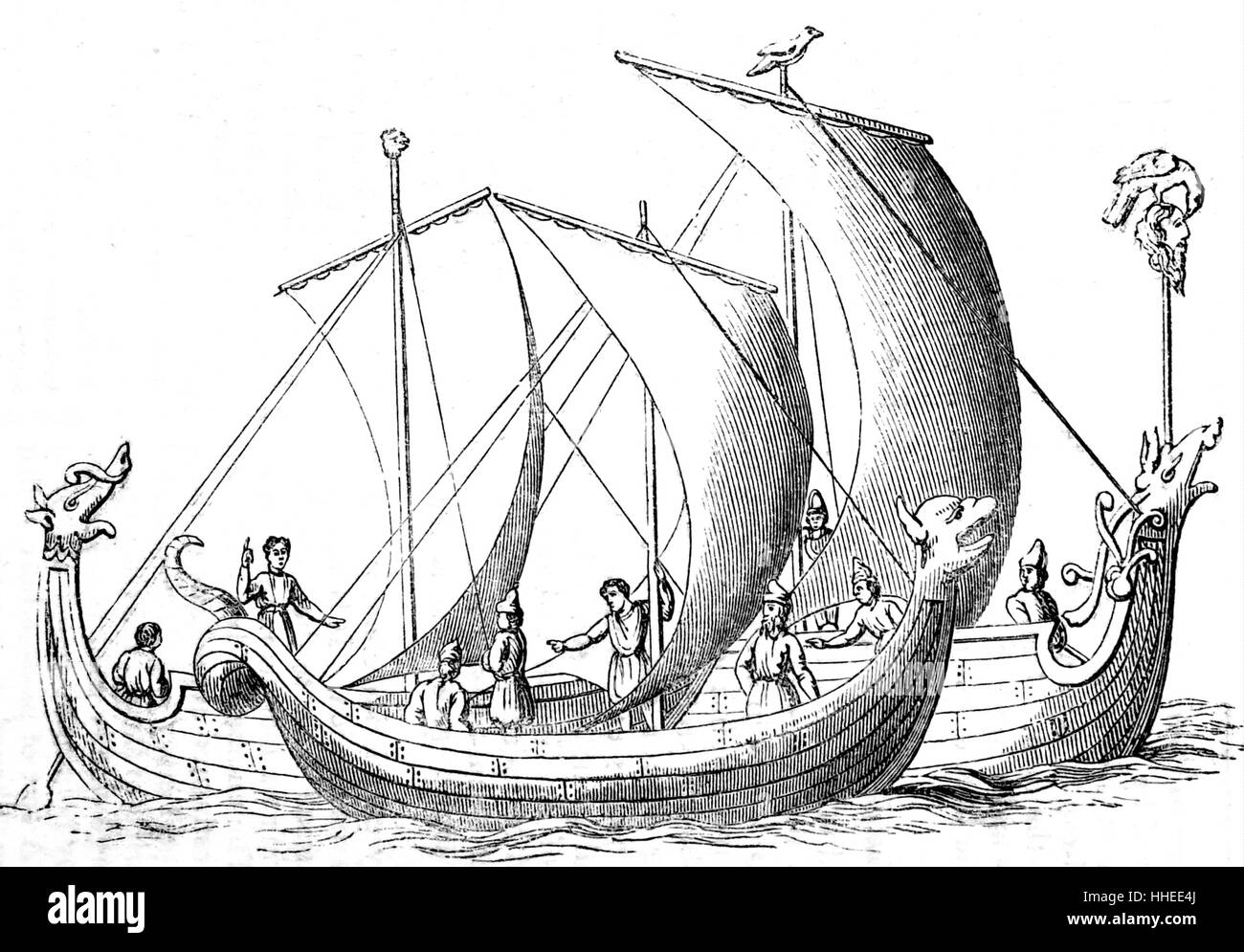Portrait of an Anglo-Saxon boat. Dated 19th Century - Stock Image