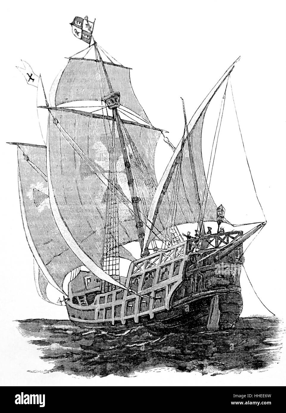 Woodblock print of a Caravel - Stock Image
