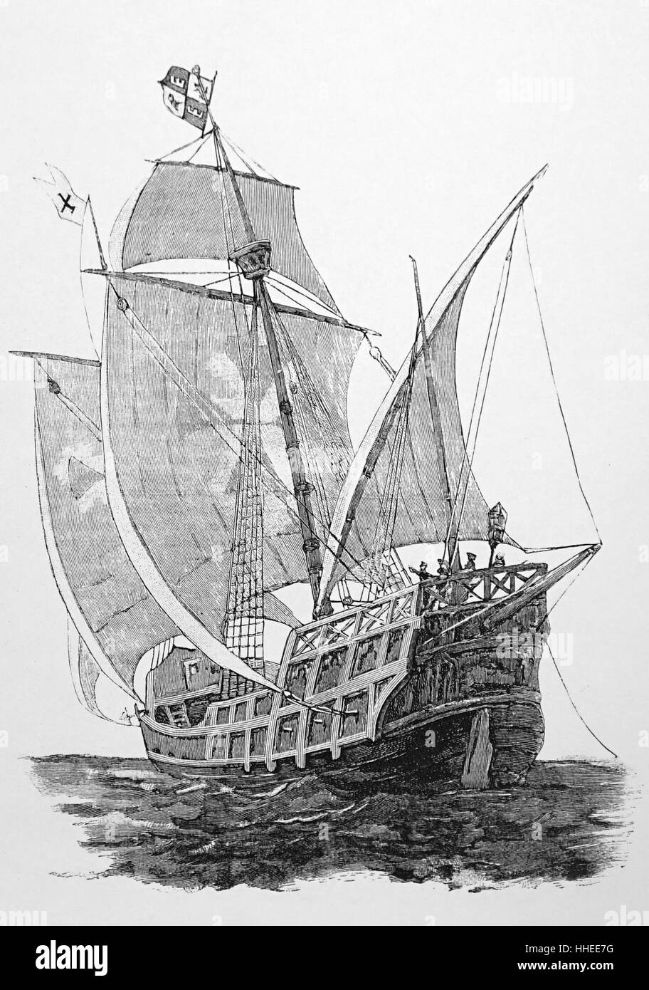 Engraving print of a Caravel - Stock Image
