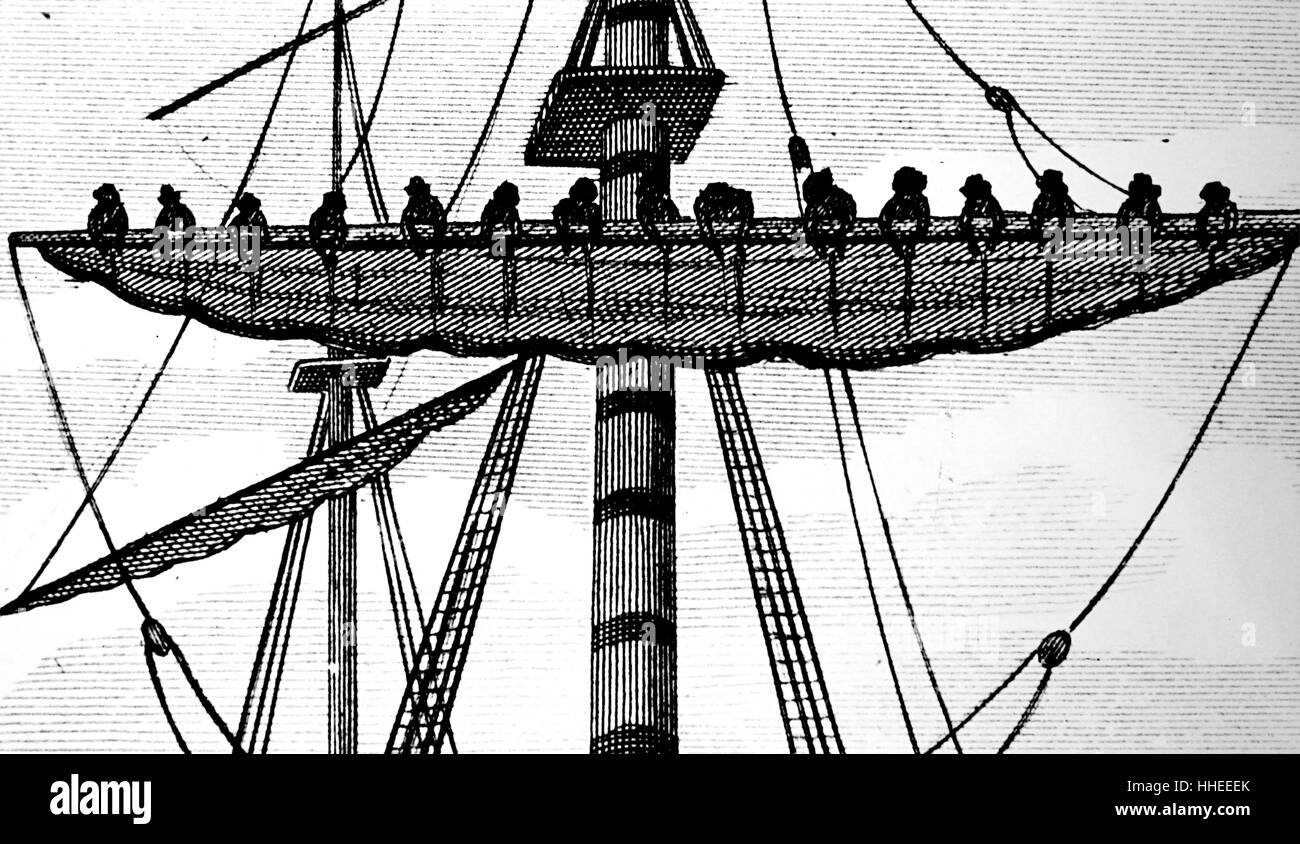 Engraving depicting the fitting a ship with sails made of sailcloth from Bridport. Dated 19th Century Stock Photo