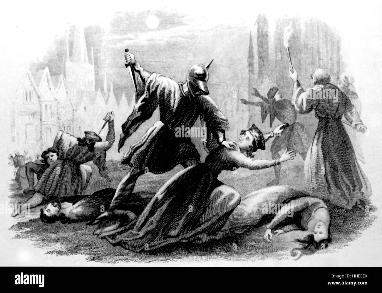 Scene from the St. Bartholomew's Day Massacre. a targeted group of assassinations and a wave of Catholic mob violence, directed against the Huguenots (French Calvinist Protestants) during the French Wars of Religion. Dated 16th Century Stock Photo