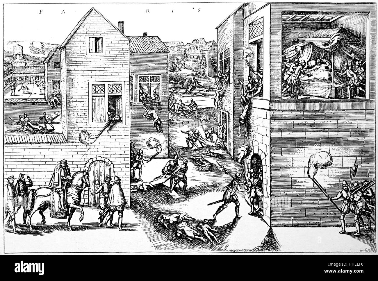 Engraving depicting the assassination of Gaspard II de Coligny (1519-1572) a French nobleman and admiral, during the St. Bartholomew's Day Massacre. Dated 16th Century Stock Photo
