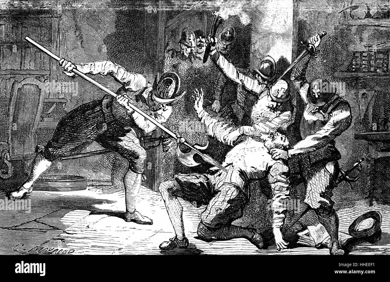 Engraving depicting the murder of Petrus Ramus (1515-1572) an influential French humanist, logician, educational reformer, and Protestant convert, during the St. Bartholomew's Day Massacre. Dated 16th Century Stock Photo