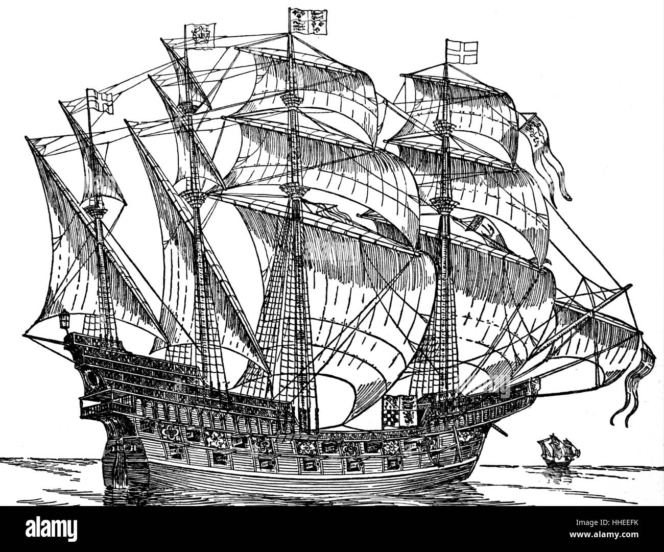Woodcut depicting a 16th Century Tudor naval ship or Carrack. - Stock Image