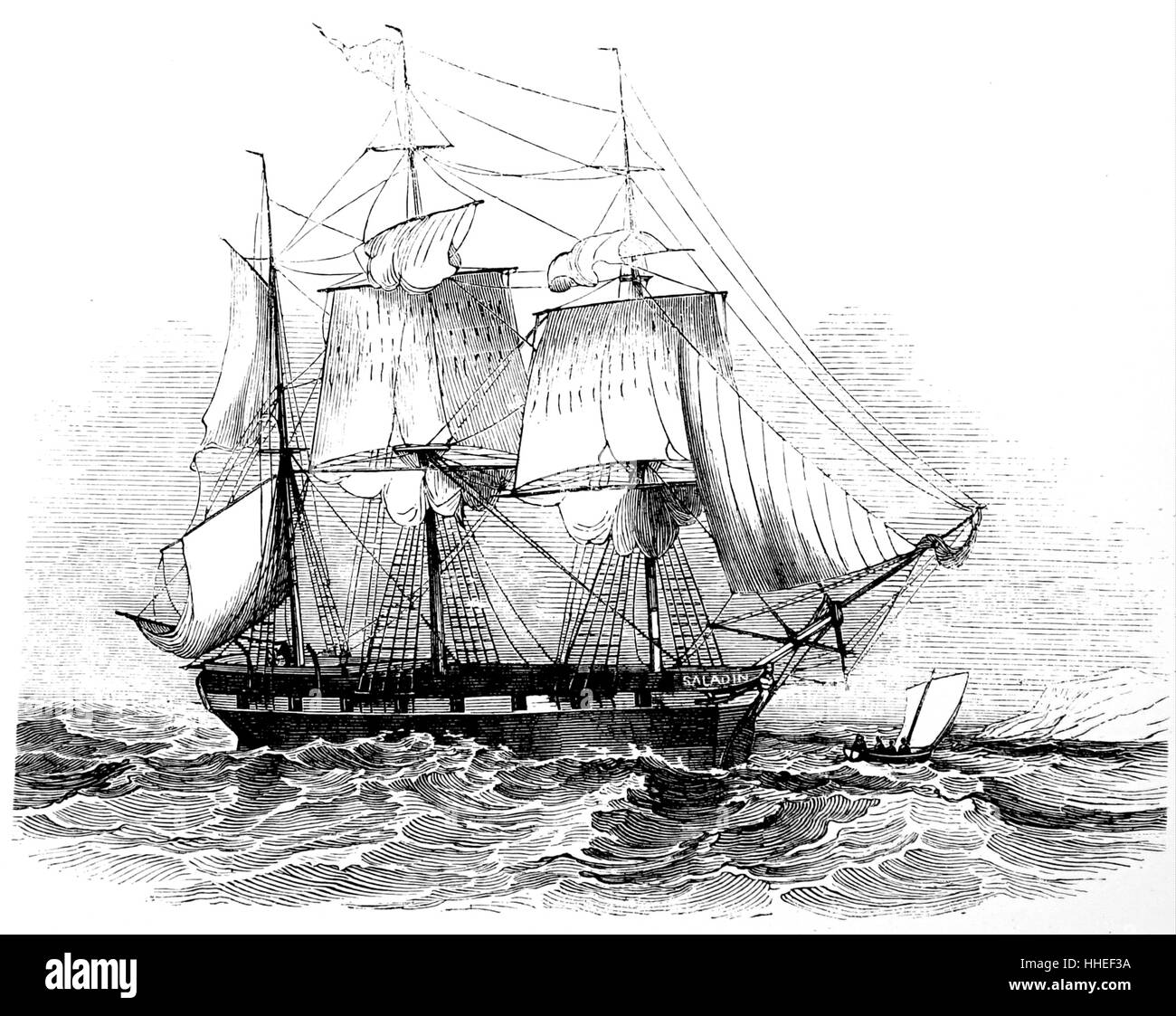 Engraving of the 'Saladin' - Stock Image