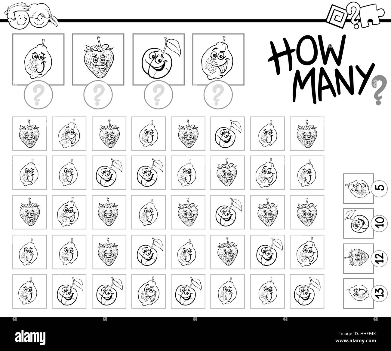 Black And White Cartoon Illustration Of Educational Hoe Many Counting Activity For Children With Fruit Characters Coloring Page